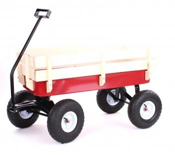 Garten Transport Handwagen Bollerwagen mit Holzaufsatz bis 150kg Rot Schwarz