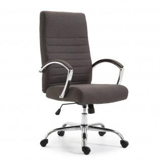 Chefsessel Bürostuhl Drehstuhl mit Armlehnen Schreibtischstuhl Stoff Dunkel Grau