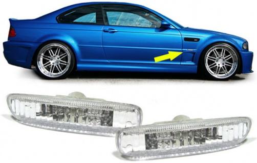 Klarglas Seitenblinker chrom für BMW 3ER E46 Coupe Cabrio Limousine Touring