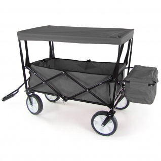 Bollerwagen Faltbar Handwagen Klappbar Transportkarre Strandwagen Dach Grau