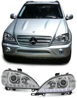 Klarglas Scheinwerfer DRL Tagfahrlicht Optik chrom für Mercedes ML W163 02-05