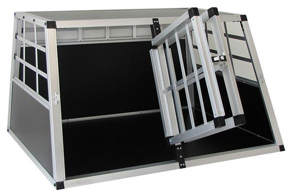Alu Hunde Tier Reise Auto Transport Box mit Doppeltür XL 89x69x50cm - Vorschau 3