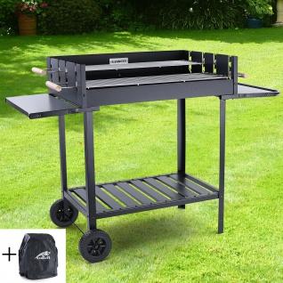 RAMROXX® BBQ Holzkohle Grillwagen Barbecue Grill RX890 Schwarz XXL 126x52cm