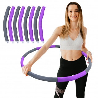 Hula Hoop Fitness Reifen 8 Teile gepolstert Durchmesser einstellbar Grau Lila