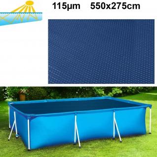 115µm Pool Solarplane Poolheizung Solarfolie Rechteckig Blau Schwarz 550x275cm
