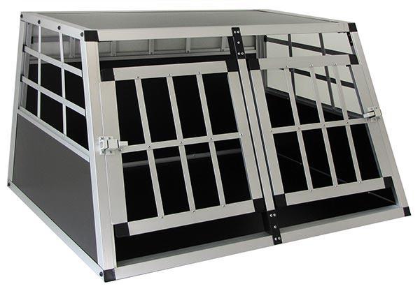 Alu Hunde Tier Reise Auto Transport Box mit Doppeltür XL 89x69x50cm - Vorschau 2