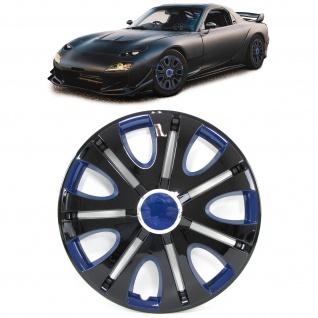 Radkappen Radzierblenden für Stahlfelgen Set Tenzo-R VII 15 Zoll schwarz blau