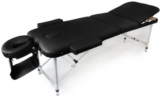 Massageliege Tisch Bank Leder Gepolstert verstellbar mit Tragetasche schwarz