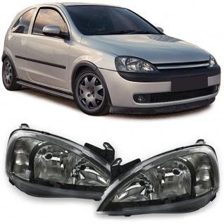 Klarglas Scheinwerfer Schwarz Paar mit Stellmotoren für Opel Corsa C 00-06
