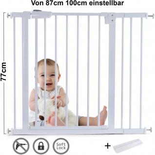 Absperrgitter Treppenschutzgitter Metall weiß + Rampe 87 - 100cm 77cm hoch