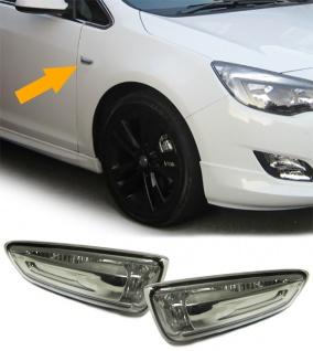 Klarglas Seitenblinker schwarz für Opel Astra J ab Bj.2010