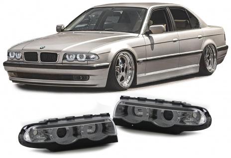 Klarglas LED Angel Eyes Scheinwerfer Chrom mit Motor für BMW 7er E38 94-01