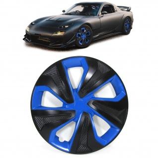 Radkappen Blenden für Stahlfelgen Set 14 Zoll Tenzo-R VIII schwarz blau Carbon