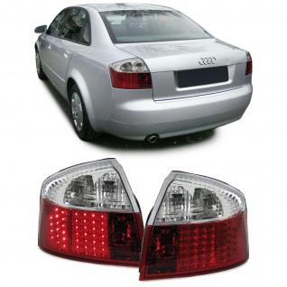 LED Klarglas Rückleuchten rot klar Paar für Audi A4 8E Limousine 00-04