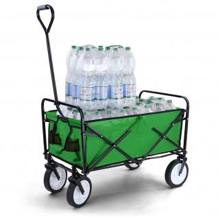 Garten Transport Faltwagen Handwagen Bollerwagen klappbar bis 80kg grün - Vorschau 1