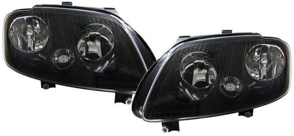 Schwarze H7 H1 Scheinwerfer mit Stellmotor für VW Touran 03-06 + Caddy 04-10