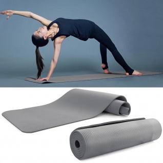 NBR Yogamatte Fitness Sport Gymnastikmatte Bodenmatte Grau 180x60cm 10mm