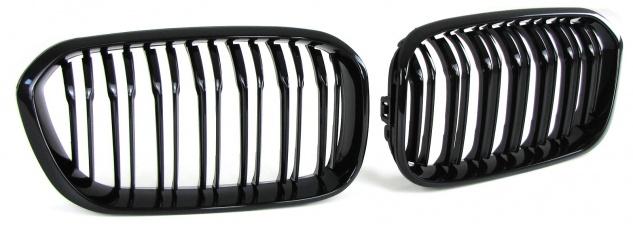 Sport Kühlergrill Nieren Doppelsteg schwarz glänzend für BMW 1er F20 F21 ab 15