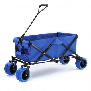 Garten Transport Strand Faltwagen Handwagen Bollerwagen klappbar bis 80kg Blau