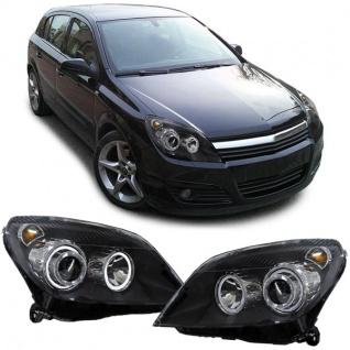 Klarglas Angel Eyes Scheinwerfer H7 H7 schwarz für Opel Astra H ab 04