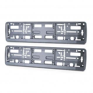 2x Nummernschild Kennzeichenrahmen Verstärkung Carbon Optik Schwarz glanz Typ 2