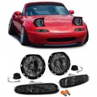 Klarglas Scheinwerfer mit Blinker schwarz smoke Set für Mazda MX5 NA 90-98