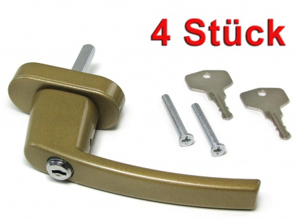 Sicherheits Fenstergriff Griffe abschließbar aus Metall gold 4 Stück