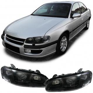 Klarglas Scheinwerfer H1 H7 schwarz Paar für Opel Omega B 94-99