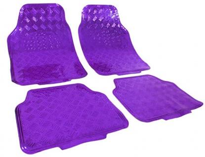 Auto Gummi Fußmatten universal Alu Riffelblech Optik chrom lila violett