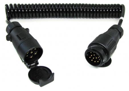 Spiralkabel Verlängerung Adapter 4 Meter 7 und 13 polig Auto Anhänger 12v
