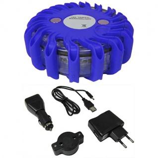 LED Warnleuchte Rundumleuchte Absicherung Warnblitzer blau mit Akku + Ladekabel