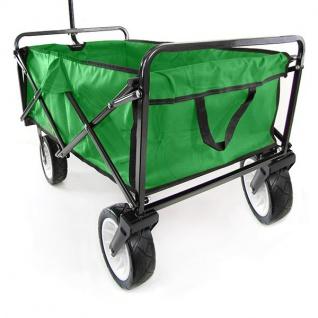 Garten Transport Faltwagen Handwagen Bollerwagen klappbar bis 80kg grün - Vorschau 4