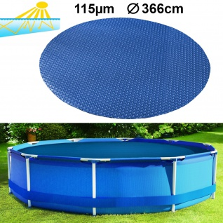 115µm Pool Solarplane Poolheizung Solarfolie Abdeckung Rund Blau 366cm