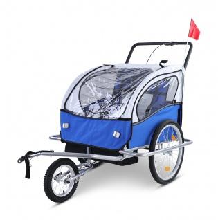 Kinder Fahrradanhänger Anhänger Kinderanhänger Jogger 2in1 Dunkelblau Grau