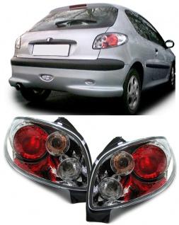 Klarglas Rückleuchten chrom new für Peugeot 206