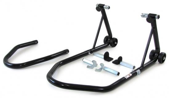 Motorrad Montageständer rollbar Kompakt bis 340kg Variabel mit 3 Haltern schwarz