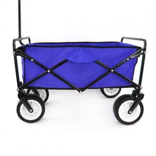 Garten Transport Faltwagen Handwagen Bollerwagen klappbar bis 80kg blau - Vorschau 5
