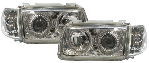 Klarglas Scheinwerfer Angel Eyes mit Motor chrom für VW Polo 6N 94-99