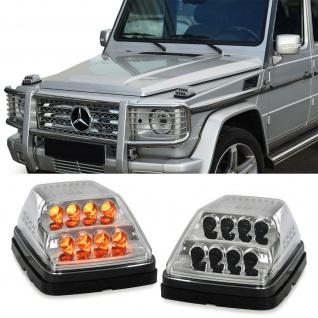 Dynamische LED Blinker Klarglas chrom für Mercedes G Klasse Modell W463 ab 89