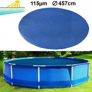 115µm Pool Solarplane Poolheizung Solarfolie Abdeckung Rund Blau 457cm