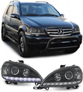 Klarglas Scheinwerfer DRL Tagfahrlicht Optik schwarz für Mercedes ML W163 98-01