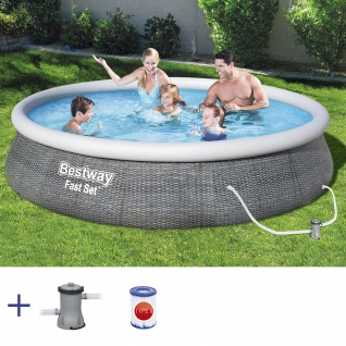 BESTWAY Fast Set Pool Swimmingpool Rund Rattan Optik mit Filterpumpe 396x84cm