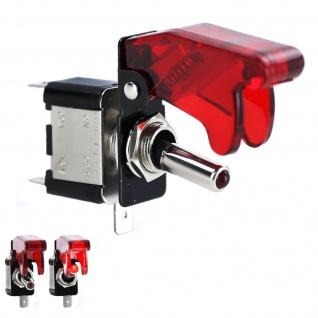 Schalter Kippschalter LED Rot beleuchtet mit Schutzkappe universal PKW KFZ 12V