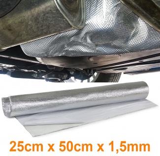 Auspuff Thermo Hitzeschutz Matte Alu Keramik selbstklebend 1, 5mm 25cmx50cm 500°C - Vorschau 1