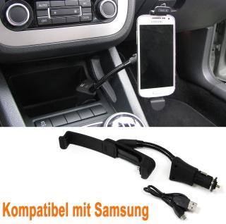 Smartphone Handyhalter Befestigung mit USB Anschluss und Ladegerät für Samsung