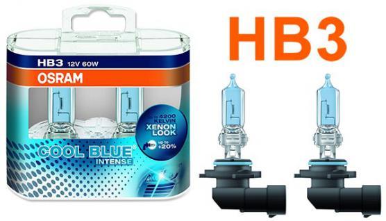 Osram Cool Blue Intense HB3 60W 12v Halogen Leuchtmittel 2 Stück IM Duopack