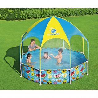 BESTWAY Steel Pro Pool Kinder rund Sonnenschutzdach UV Schutz Sprinkler 244x51cm