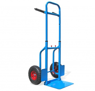 Profi Sackkarre Stapelkarre ausziehbar mit klappbarer Schaufel blau 150 kg