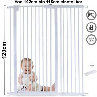 Absperrgitter Treppenschutzgitter Metall weiß + Rampe 102 -115cm 120cm hoch