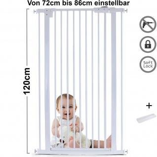 Absperrgitter Treppenschutzgitter Metall weiß + Rampe 72 - 86cm 120cm hoch